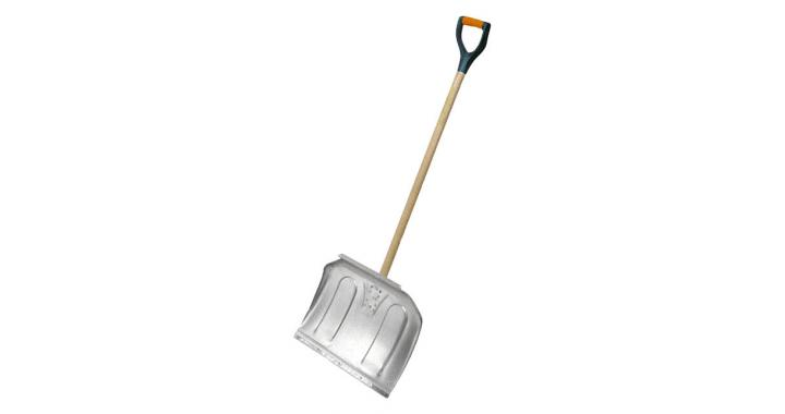 Aluminum snow shovel with wooden shaft and comfortable D-grip handle